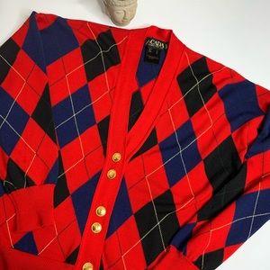Escada Red Argyle Vintage Wool Cardigan Large